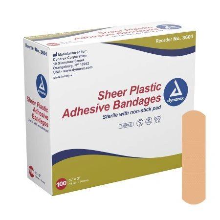Adhesive Strip Dynarex 3/4 X 3 Inch Plastic Rectangle Tan Sterile , 100/Box , 24 Box/Case , Dynarex 3601