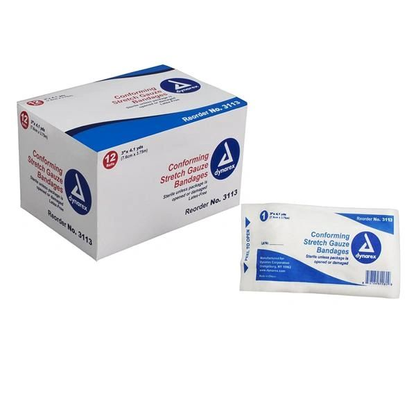 """Bandage Gauze 3""""x4.1yd Polyester Highly Absorbent Stretch Sterile Disposable 12/Box, 8 BX/CA , Dynarex 3113"""