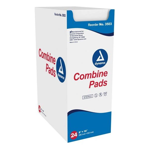 "ABD Pad Combine Fluff Filled 8x10"" Absorbent White Non-Woven Outer Sterile Disposable 24/Package, 15 PK/Case , Dynarex 3503"