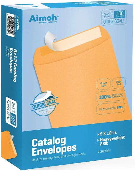 9 X 12 Self-Seal Brown Kraft Catalog Mailing Envelopes - 28lb 100 Count, 9x12 Inch , Office 38300
