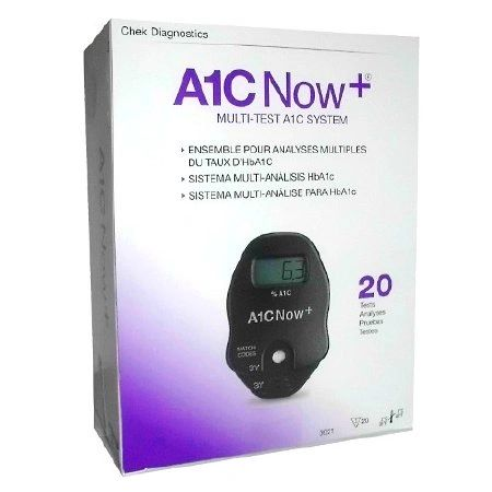 A1C Now+ Diabetes Management HbA1c Test Rapid Diagnostic Test Kit Whole Blood Sample CLIA Waived 20 Tests Polymer Technology 3021