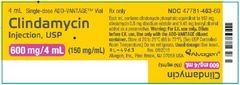 Antibacterial Clindamycin Phosphate Concentrate 150 mg / mL Intravenous Injection Single Use ADD-Vantage Vial 4 mL , 25/Pack Alvogen 47781046369