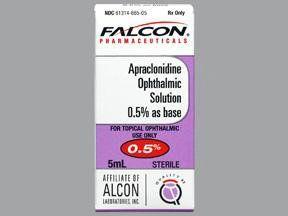 Alpha-Adrenergic Agonist Apraclonidine HCl 0.5 % Ophthalmic Drops Dropper Bottle 5 mL , Sandoz 61314066505