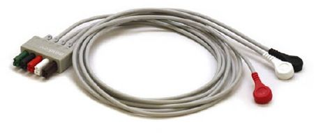3 Lead ECG/EKG Wires Snap, Adult/Pediatric Compatible with: DPM4, DPM5, DPM6, DPM7 , Mindray 0010-30-42734