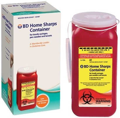 Diabetic Supplies Sharp Collector 2-Piece Red Base Vertical Entry Lid 12/Case , BD 323487