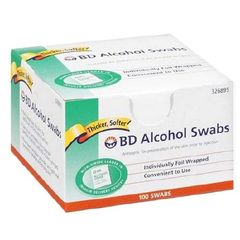 Alcohol Prep Pad BD Isopropyl Alcohol, 70% Individual Packet 1 X 3/4 Inch NonSterile , 100/box , 12 Box/Case , BD 326895
