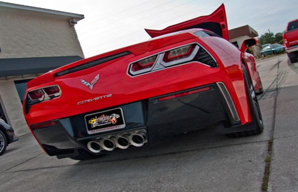 2014 C7 Corvette Stingray - Perforated Exhaust Filler Panel  NPP+Dual-Mode+Bi-Mode Exhaust Brushed Stainless Steel