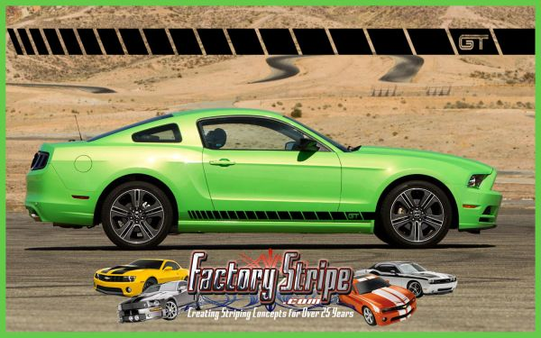 Ford Mustang Strobe GT Rocker Automotive Graphics Factory Stripe Style  2005-2006-2007-2008-2009-2010-2011-2012-2013-2014