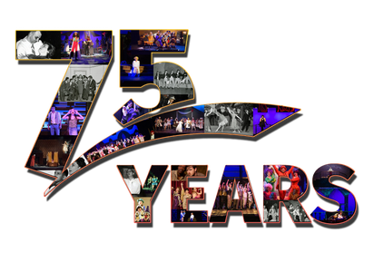 "Theatre Baton Rouge 75 years celebration photo collage. Photos fill the shapes spelling ""75 Years"""