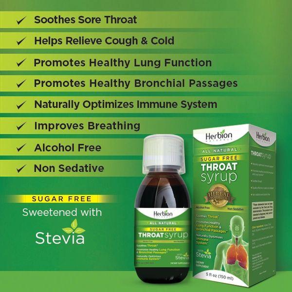 Throat Syrup Sugar Free All Natural-Herbion Naturals 5 Fl