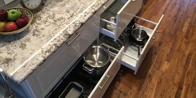 Probuild Creations LLC Kitchen Remodeling Company Austin TX Picture of   open kitchen drawers