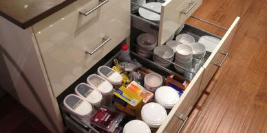 Probuild Creations LLC Kitchen Remodeling Company Austin TX Picture of   organized kitchen drawer.