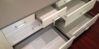 Probuild Creations LLC Kitchen Remodeling Company Austin TX Picture of   open cabinet drawers