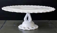 Vintage Milk Glass Cake Plate