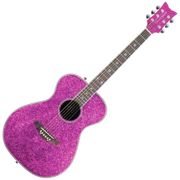 Daisy Rock 'Pixie' Acoustic Guitar ~ Pink Sparkle