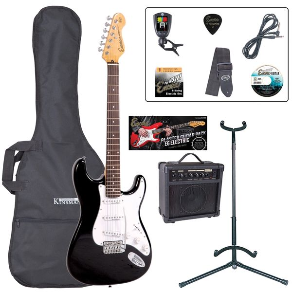Encore E6 Electric Guitar Pack ~ Gloss Black