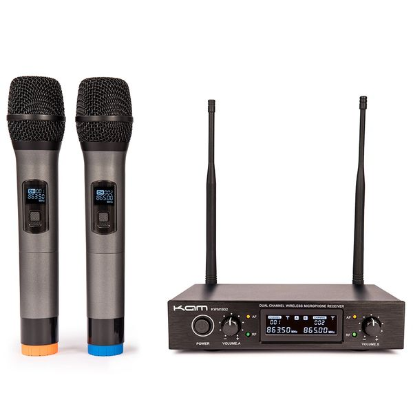 Kam UHF Fixed Twin Channel Professional Wireless Microphone System