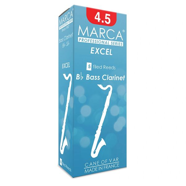 Marca Excel Reeds - 5 Pack - Bass Clarinet - 4.5
