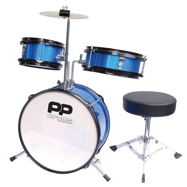 PP Drums Junior 3 Piece Drum Kit ~ Metallic Blue