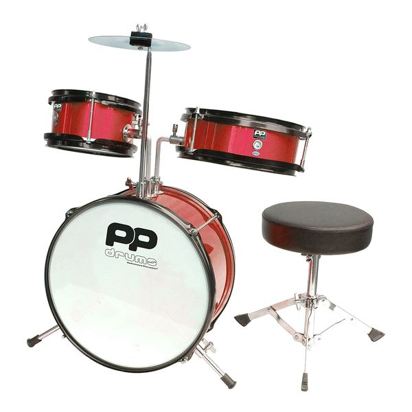 PP Drums Junior 3 Piece Drum Kit ~ Metallic Red