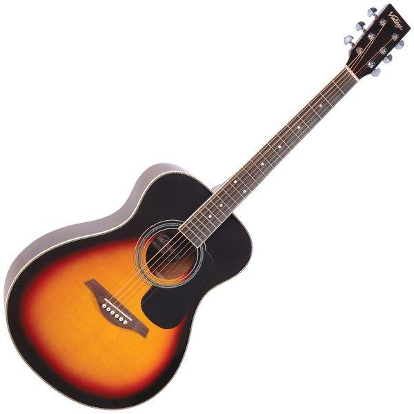Vintage V300 Acoustic Folk Guitar ~ Vintage Sunburst