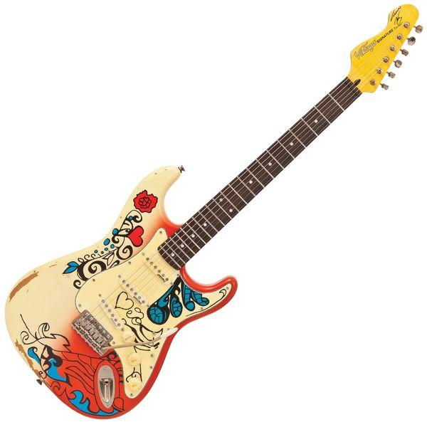 Vintage V6 Thomas Blug Signature Electric Guitar ~ 'Summer of love'