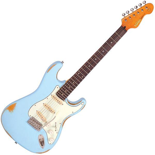 Vintage V6 ICON Electric Guitar ~ Distressed Laguna Blue