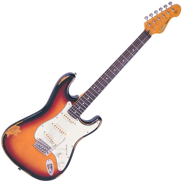 Vintage V6 ICON Electric Guitar ~ Distressed Sunburst
