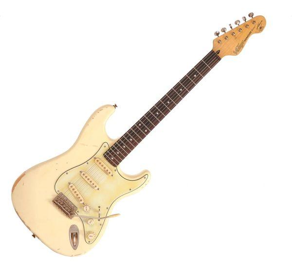 Vintage V6 Thomas Blug Signature Electric Guitar ~ Distressed Vintage White