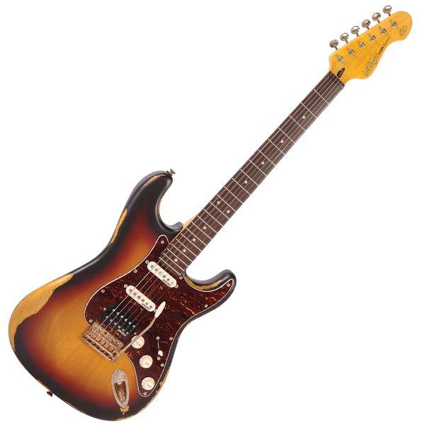 Vintage V6H ICON Electric Guitar ~ Distressed Tobacco Sunburst