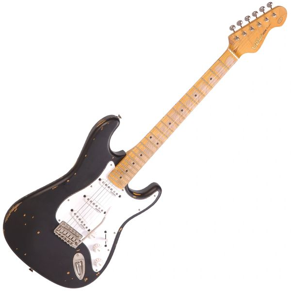 Vintage V6 ICON Electric Guitar ~ Distressed Boulevarde Black