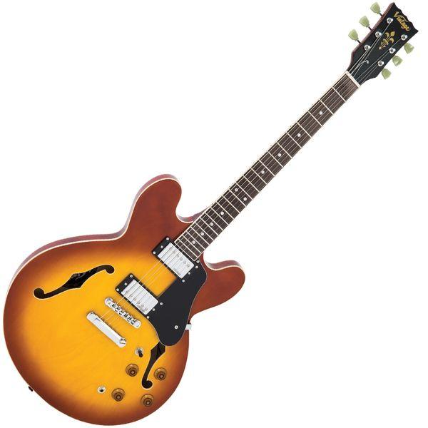 Vintage VSA500 ReIssued Semi Acoustic Guitar ~ Honeyburst