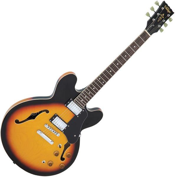 Vintage VSA500 ReIssued Semi Acoustic Guitar ~ Sunburst