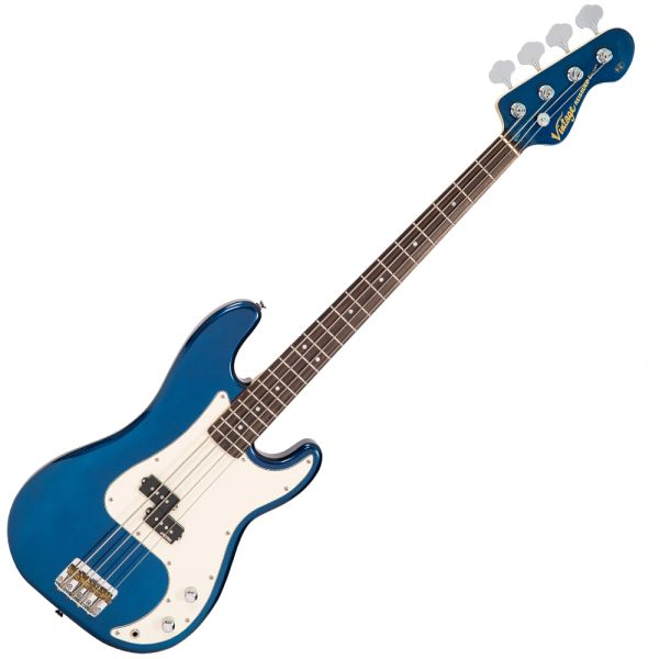 Vintage V4 Reissued Bass Guitar ~ Bayview Blue