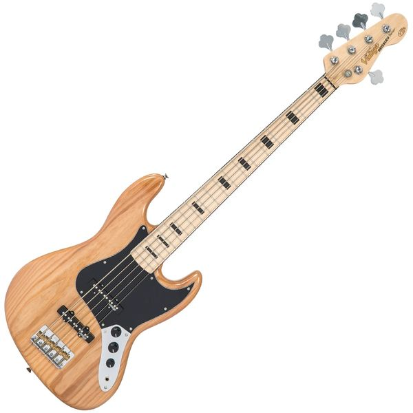 Vintage VJ75 ReIssued Maple Fingerboard Bass Guitar ~ 5-String - Natural Ash