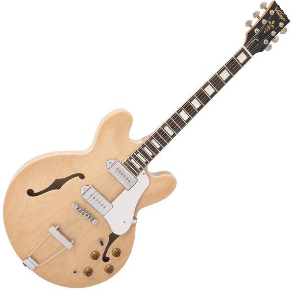 Vintage VSA500P ReIssued Semi Acoustic Guitar ~ Natural Maple