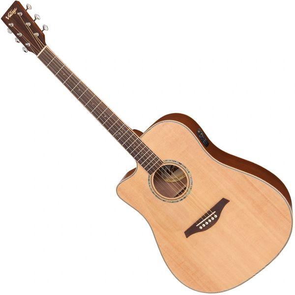 Vintage VEC550 Electro-Acoustic Dreadnought Guitar ~ Satin Natural ~ Left Hand
