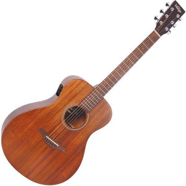Vintage VE330 Electro-Acoustic Folk Guitar ~ Mahogany