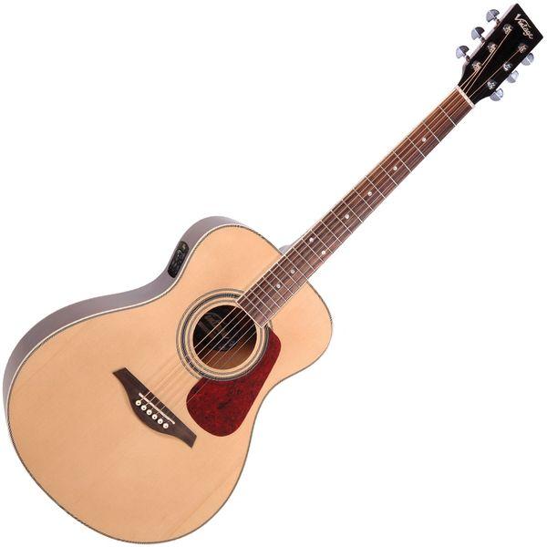 Vintage VE330 Electro-Acoustic Folk Guitar ~ Natural