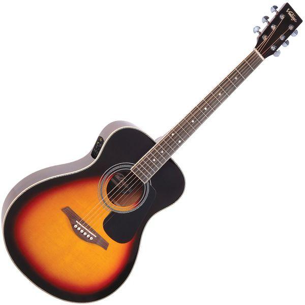 Vintage VE330 Electro-Acoustic Folk Guitar ~ Vintage Sunburst