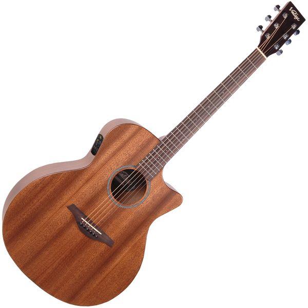 Vintage VE990 Electro-Acoustic Cutaway Guitar ~ Mahogany