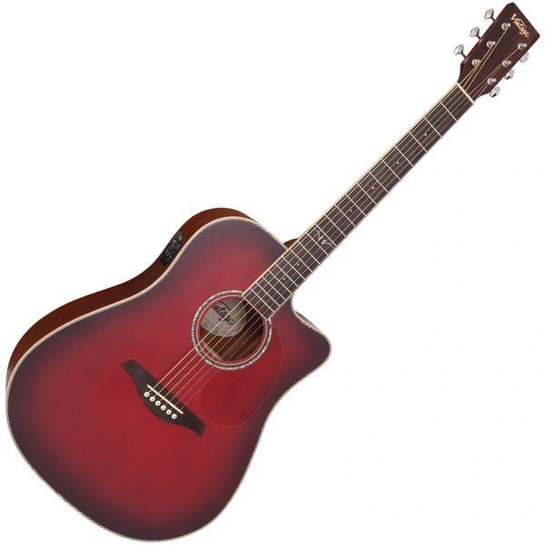 Vintage VEC550 Electro-Acoustic Dreadnought Guitar ~ Satin Burgundy Burst