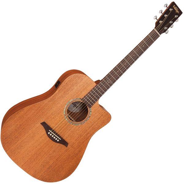 Vintage VEC550 Electro-Acoustic Dreadnought Guitar ~ Satin Mahogany