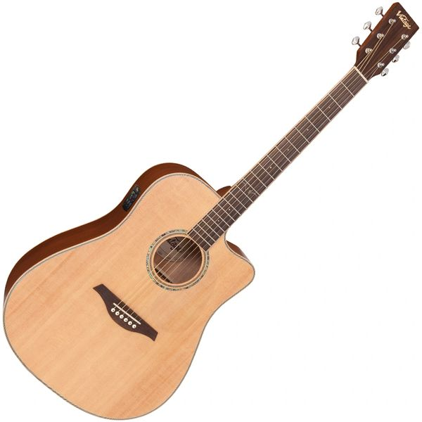 Vintage VEC550 Electro-Acoustic Dreadnought Guitar ~ Satin Natural