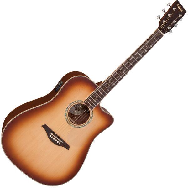 Vintage VEC550 Electro-Acoustic Dreadnought Guitar ~ Satin Tobacco Sunburst