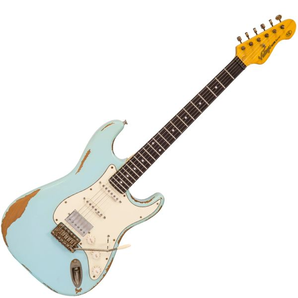 Vintage V6H ICON HSS Electric Guitar ~ Ultra-Gloss Distressed Laguna Blue