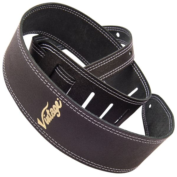 Vintage Leather Guitar Strap - Black