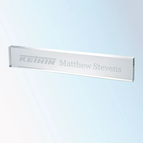 Clear Glass Bar Nameplates