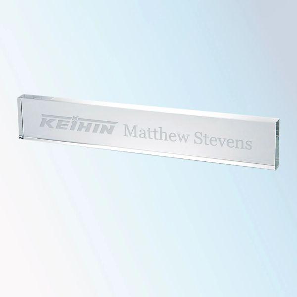 Clear Glass Bar Nameplates