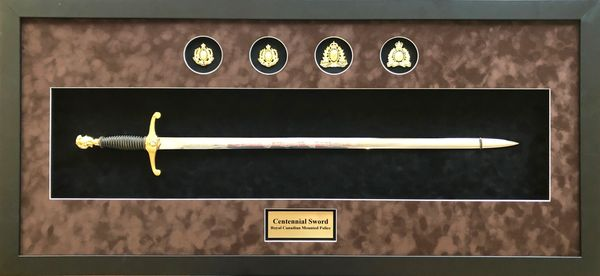 RCMP Centennial sword in a custom frame display with sublimated plate and RCMP historical badges